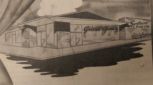 """The """"modernistic"""" Sunflower Grocery, designed by Harold Kaplan, opened in 1959 in Greenville."""