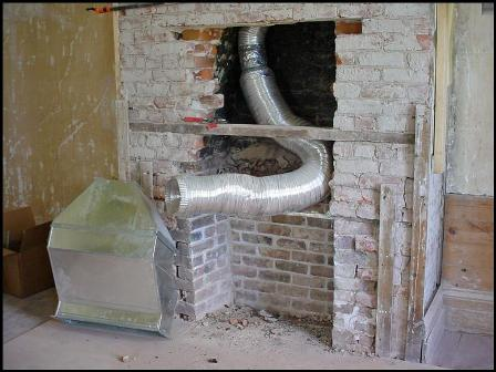 Ductwork threaded into chimney box