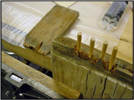 Repairing broken tenon with dowel rods