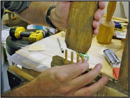 Reattaching tenon with dowel rods
