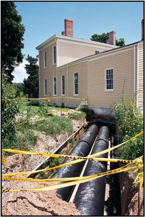 Underground pipes from smokehouse to main house