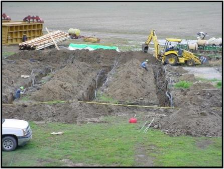 Installing tubing in geothermal field