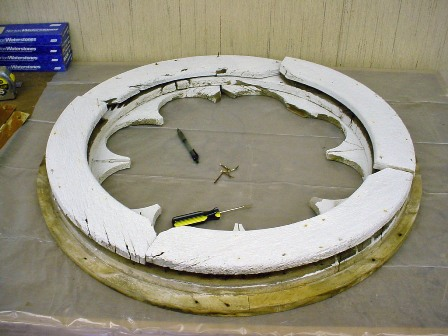 Dissassembling rose window for restoration