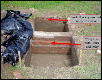 Original stepped-out brick foundation